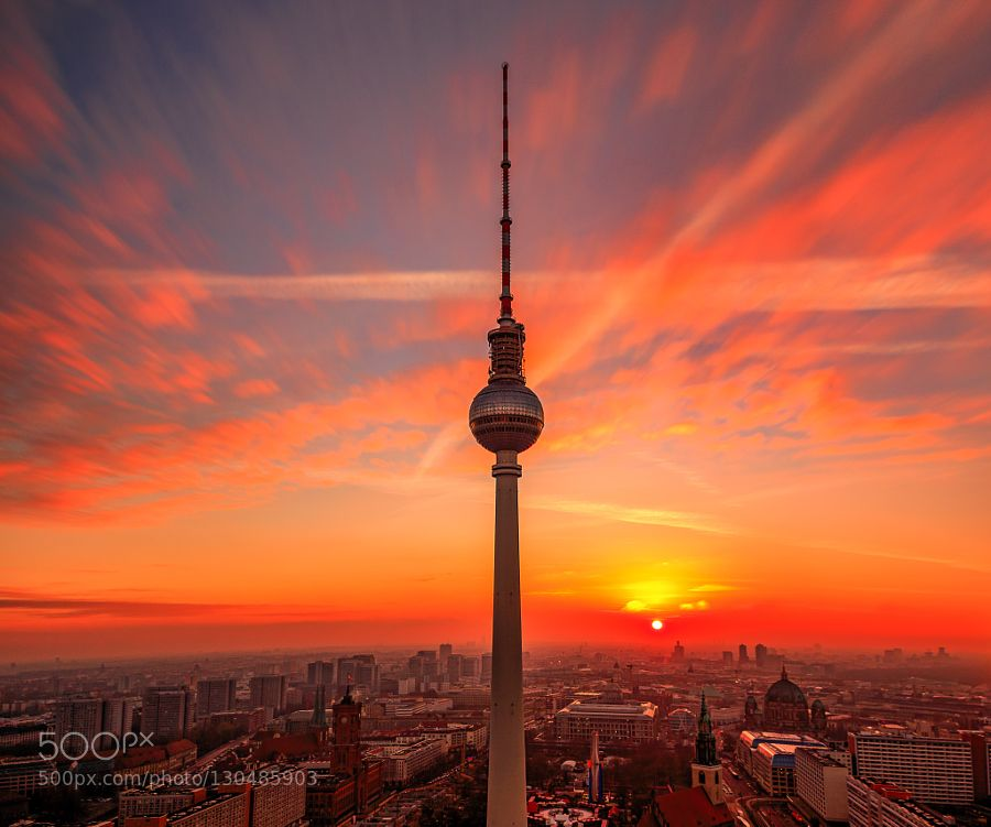 Berliner Fernsehturm Bei Sonnenuntergang