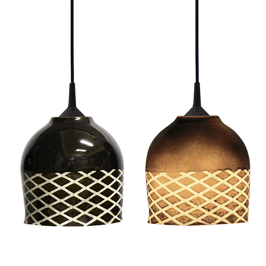 Bone china porcelain suspension lamps by Hedwig Rotter