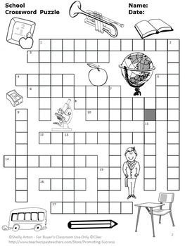 Back to School Crossword Puzzle, School Vocabulary