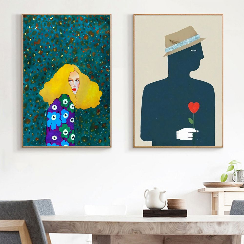 Cool Cartoon Portrait Canvas Print Wall Art Poster Airbnb Home Decor Sofa Cafe Office Hotel Bedroom Painting House Warming Gifts Painting Wall Art