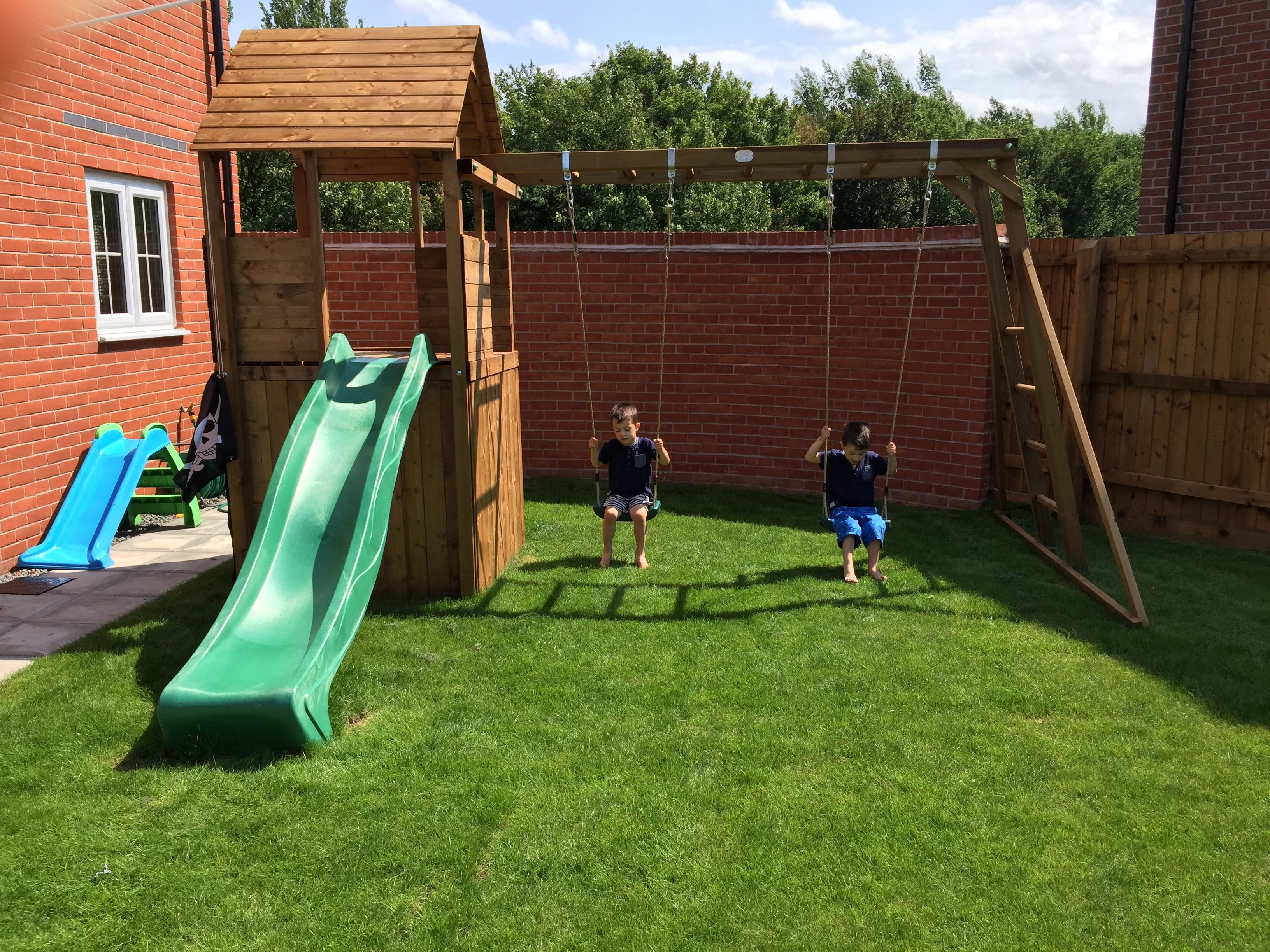 Jazzmin Alcock s children seem very happy playing in their garden on
