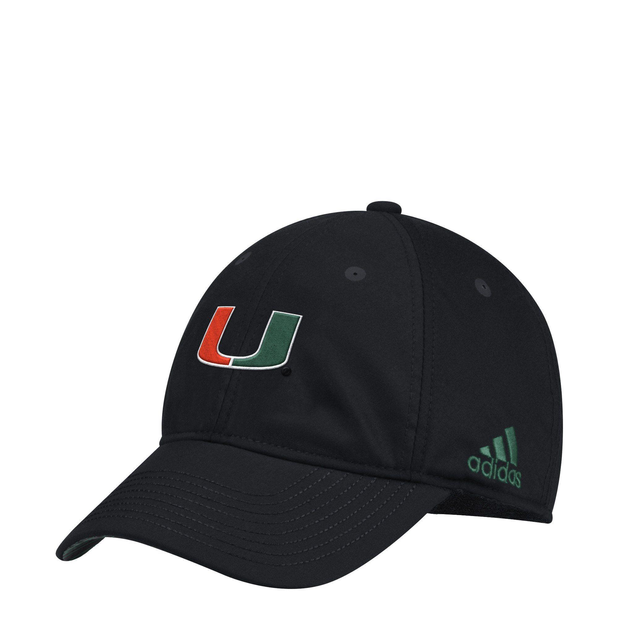 sneakers for cheap 6b75a 7d978 Miami Hurricanes adidas 2018 Coaches U Slouch Flex Hat - Black