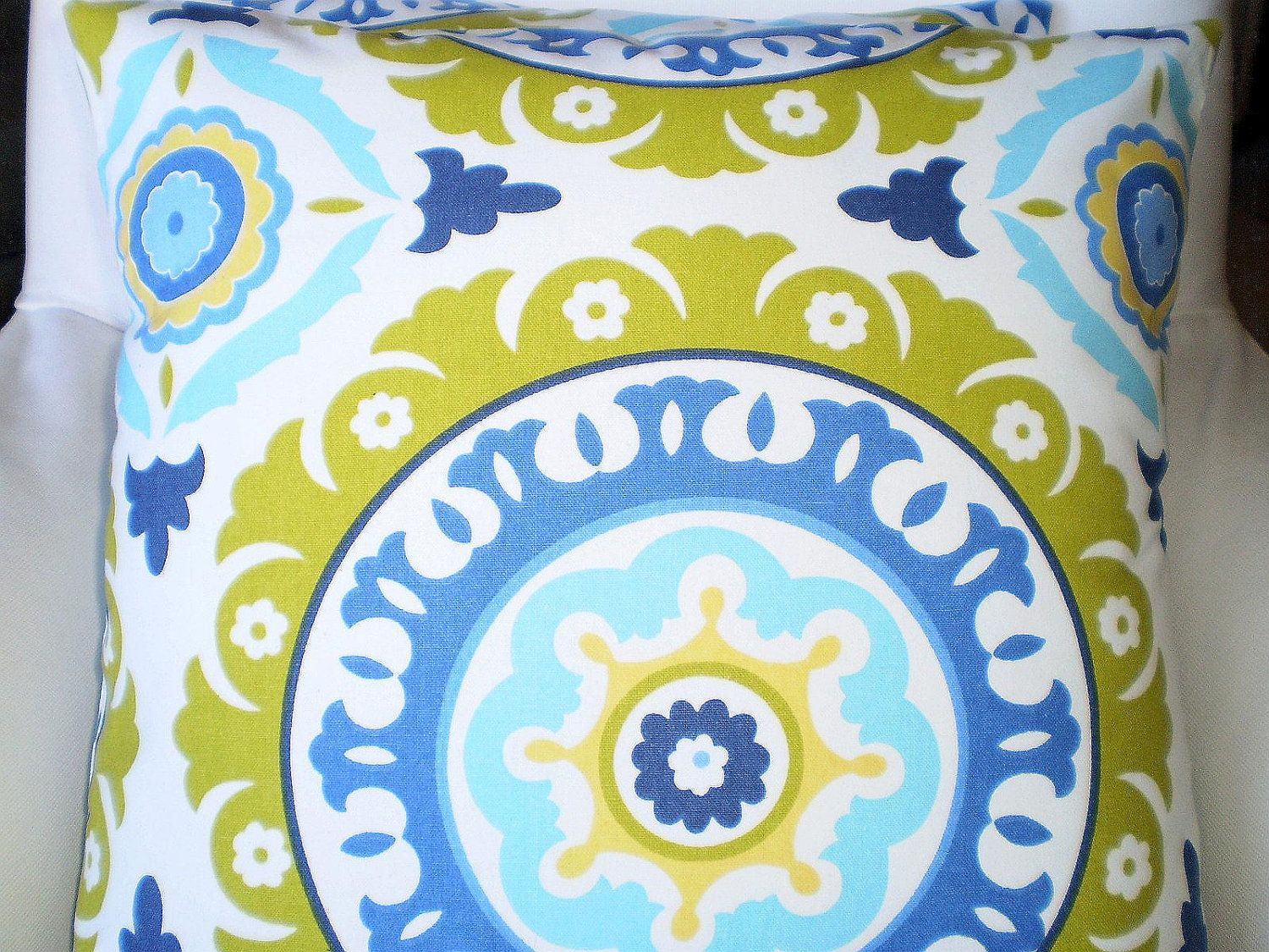 Throw Pillows Decorative Cushion Covers Lime Green Aqua Periwinkle Blue Yellow Waverly Solar Flair Pair Of Two 18 X 32 00 Via Etsy