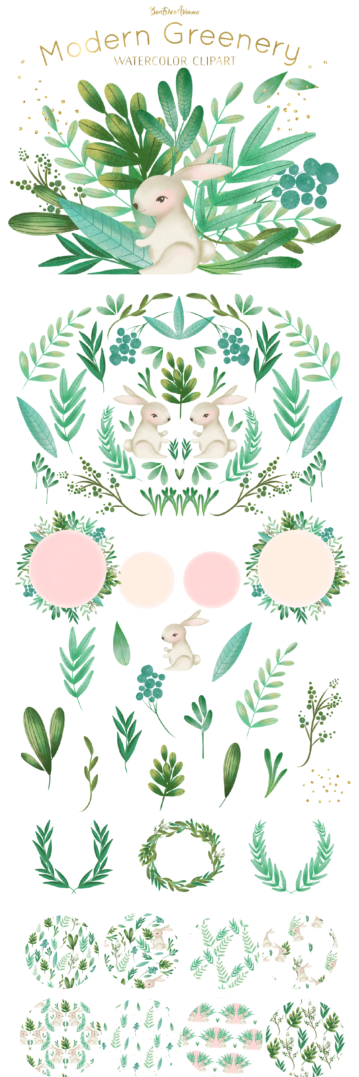 Woodland Rabbit Clipart Set