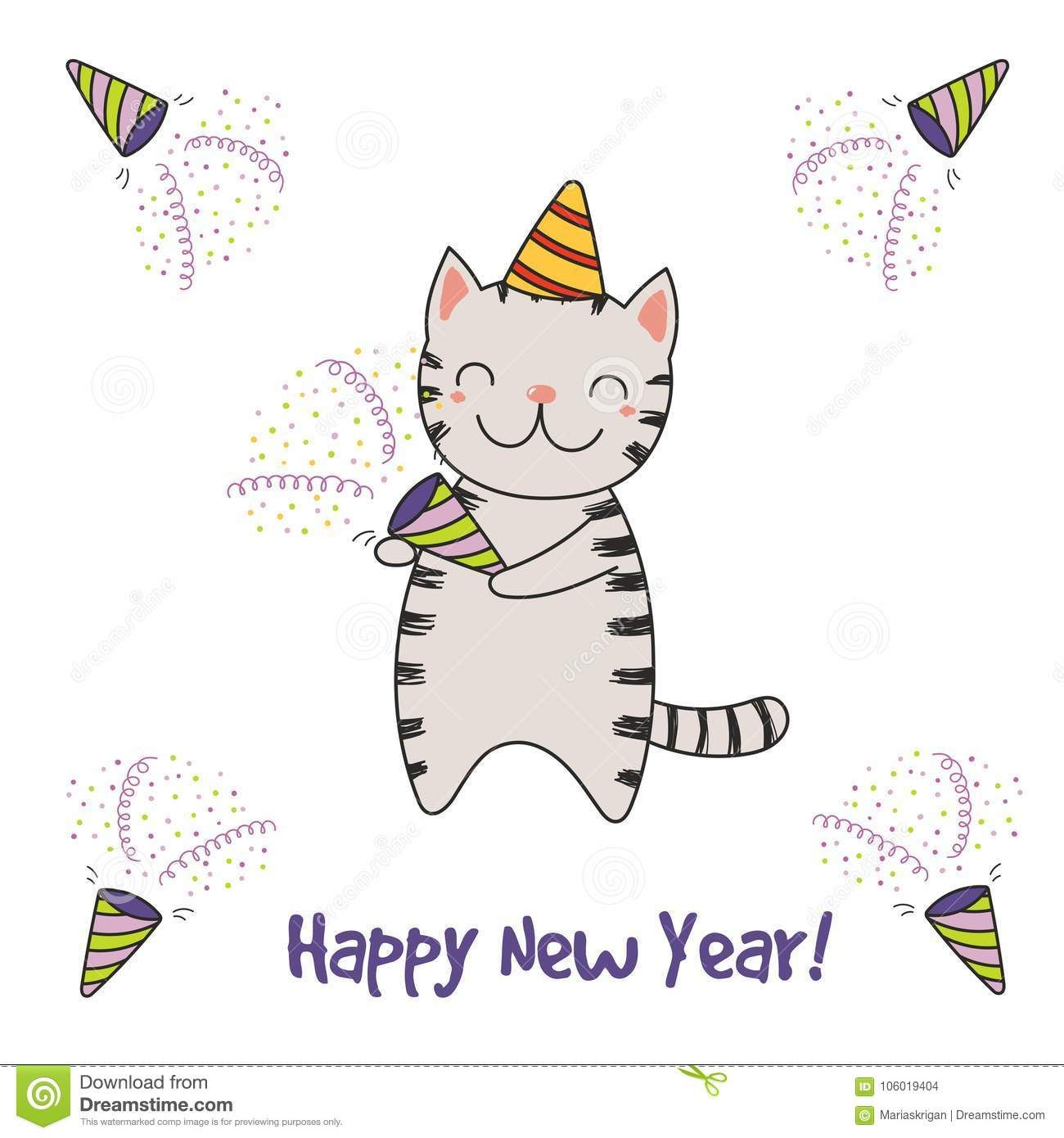 Hand Drawn Happy New Year Greeting Card Happy New Year Greetings New Year Greetings New Year Greeting Cards