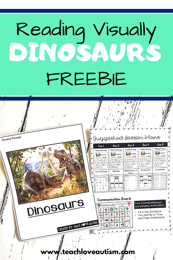 Reading Comprehension Freebie About Dinosaurs Teach Love Autism Special Education Reading Life Skills Special Education Special Education Visual [ 1102 x 735 Pixel ]