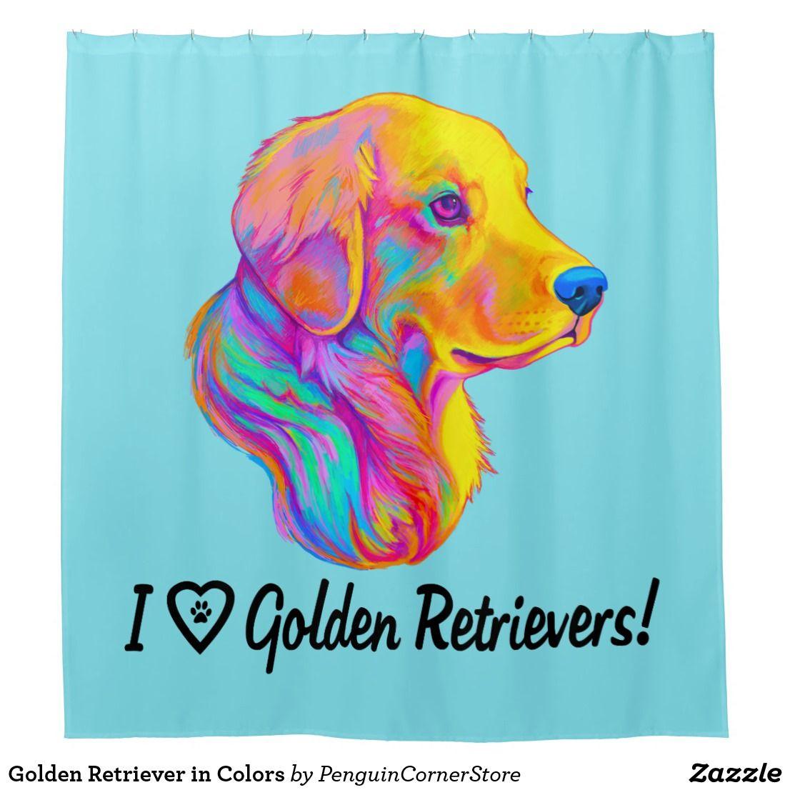 Golden Retriever In Colors Shower Curtain Zazzle Com Pet Gifts