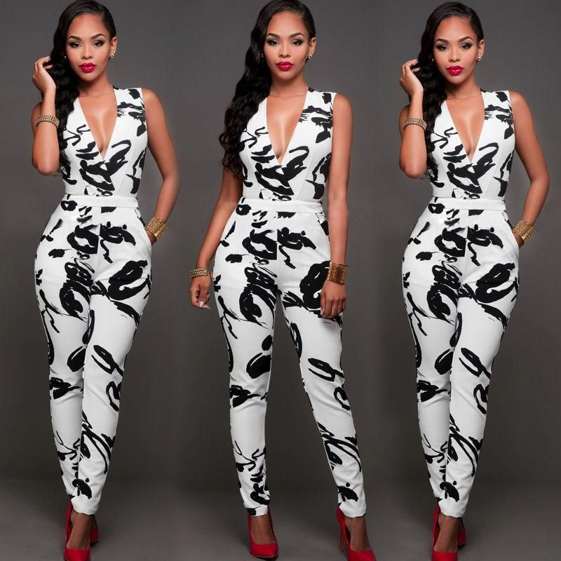 Womens Halter Neck Sleeveless Playsuit Bodycon Club Trousers Jumpsuit Romper