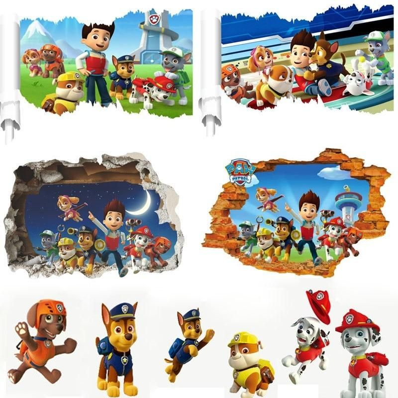 Cartoon Clever Dogs Wall Stickers For Kids Room Decoration