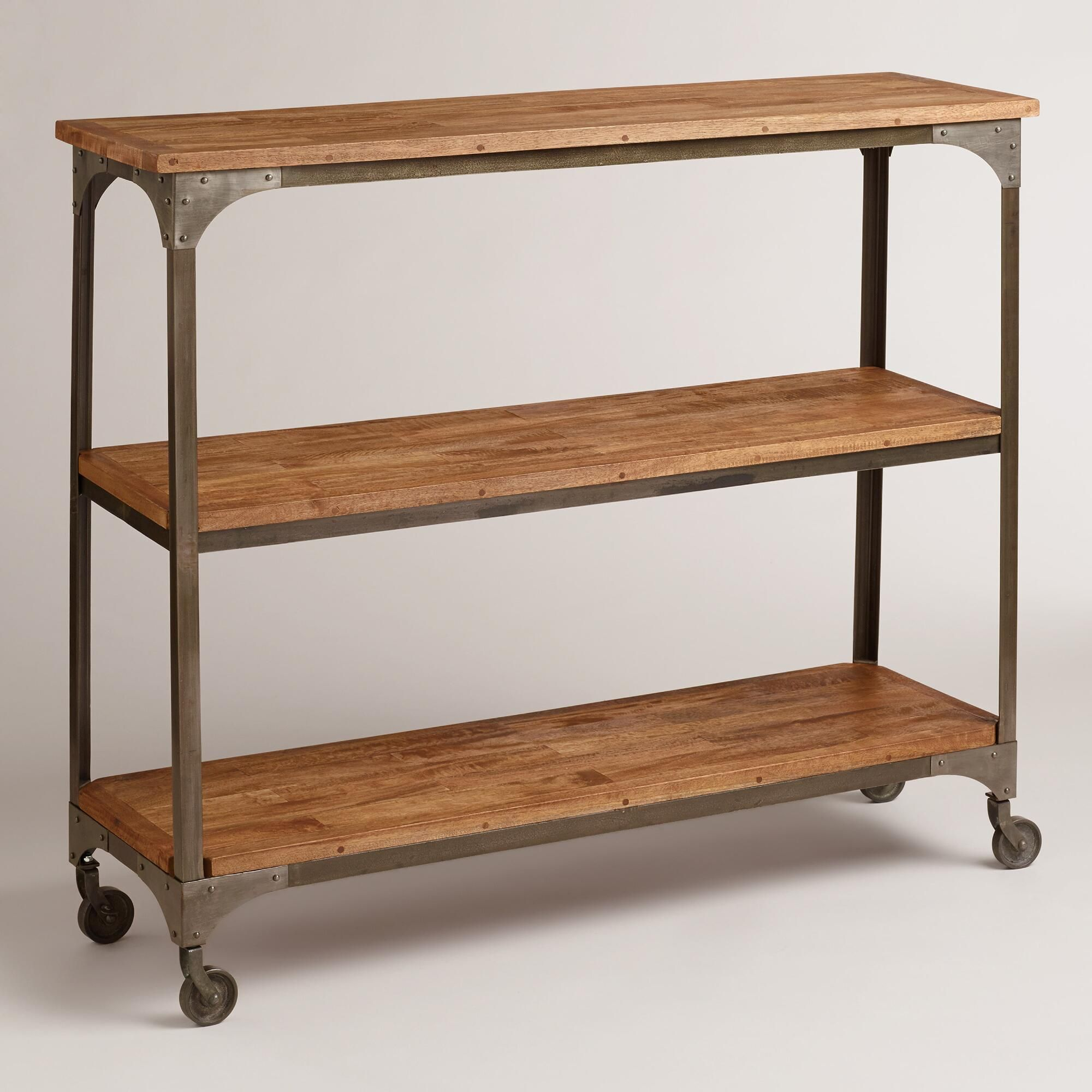 wood and metal aiden 3-shelf console table | wheels, appliances