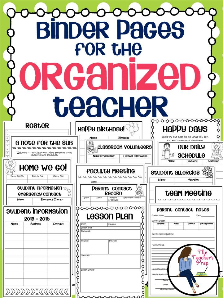 Binder Pages For The Organized Teacher Teacher Binder Organization Teacher Organization Teacher Binder