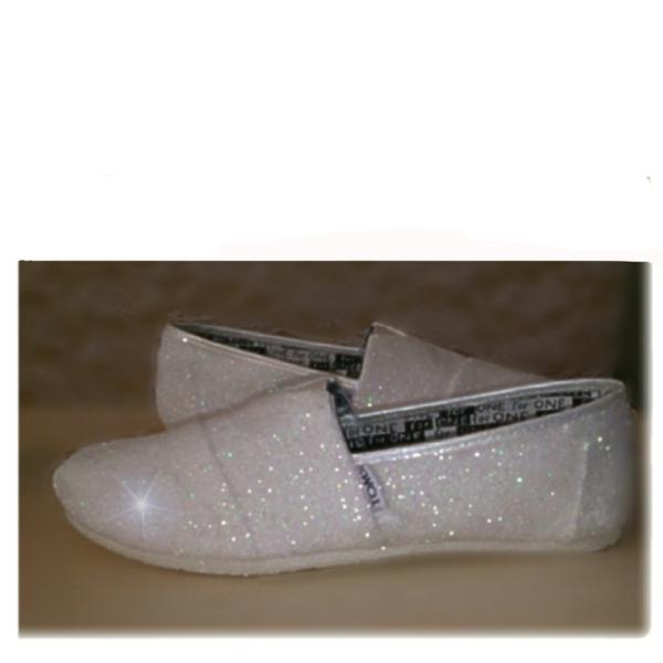 toms white glitter