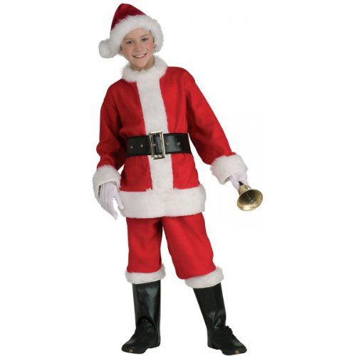 CHRISTMAS SANTA OUTFIT SIZE 8-10 WITH HAT AND GLOVES