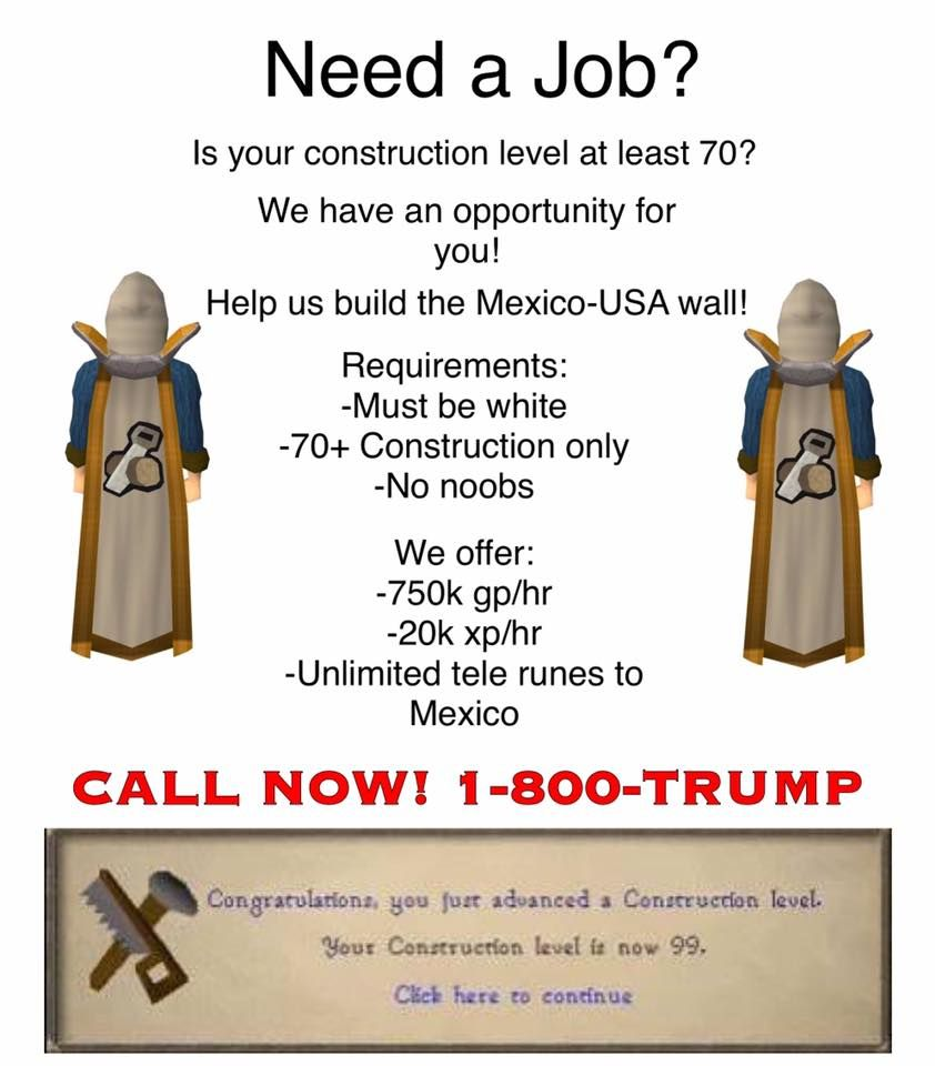 Call 1800 Trump For A Professional Runescape Career With Images Old School Runescape Video Game Tester Video Game Tester Jobs