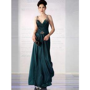 edle abendkleider dunkelgrün alinie lang mit trägern  abendkleid langes abendkleid kleider
