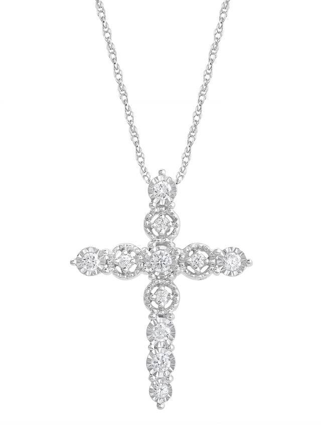 Fine 14k Yellow Gold Rounded Small Cross Pendant Necklace