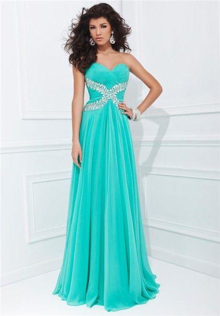 Aqua Strapless Long Prom Dresses