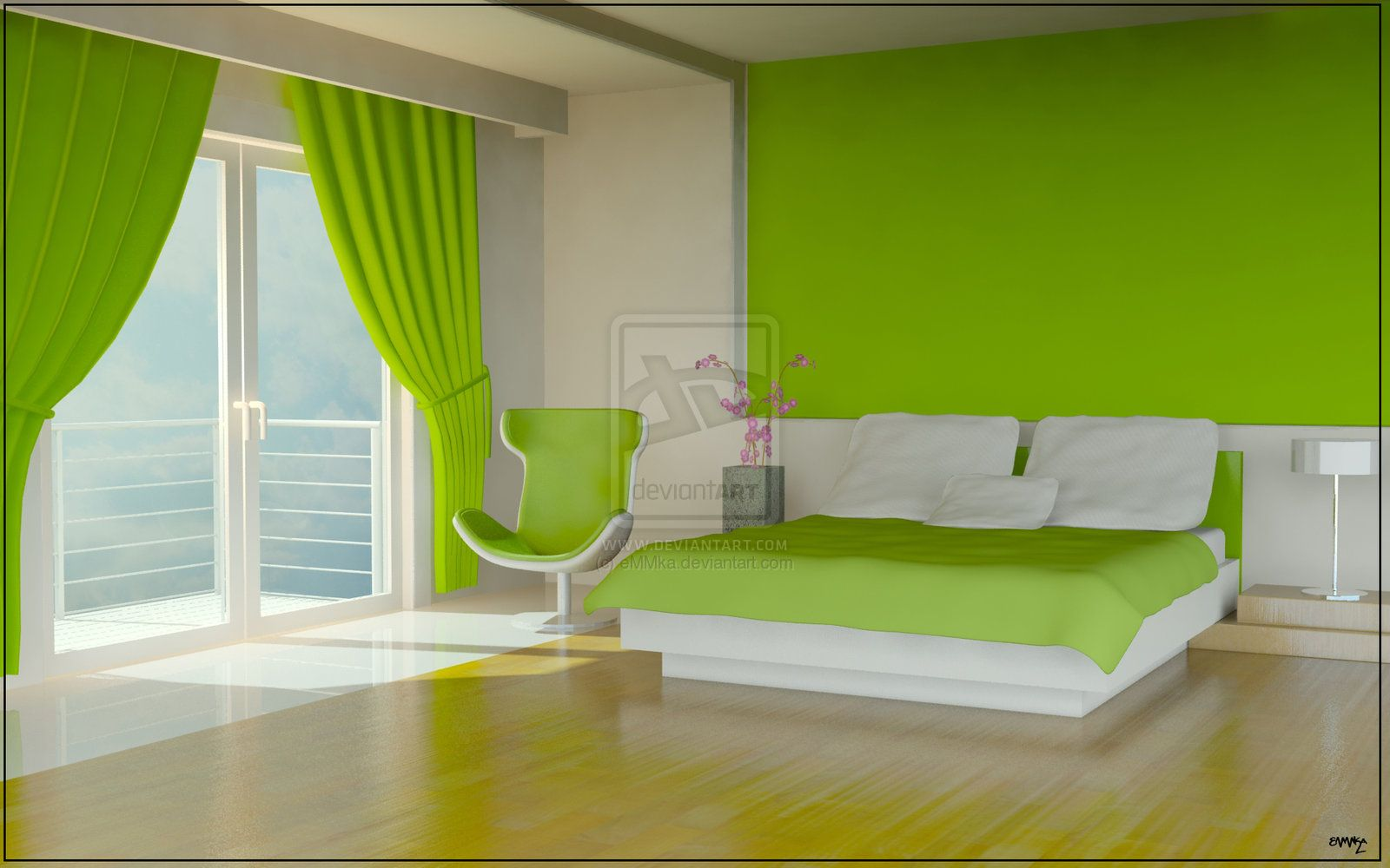 cool bedroom color design with green color - stylendesigns