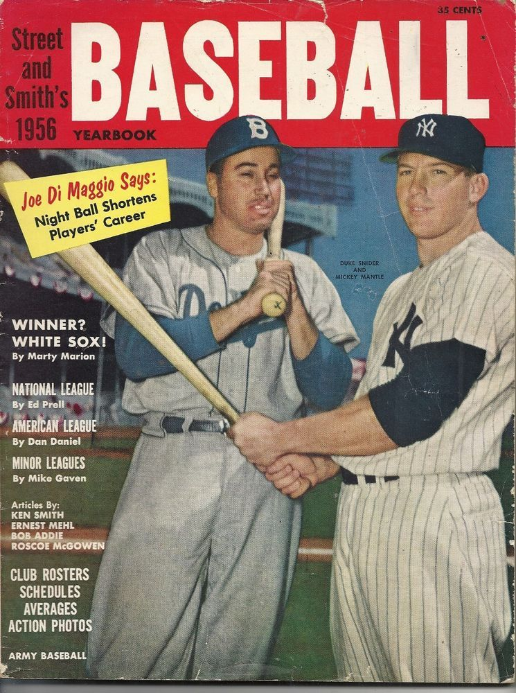 1956 Street & Smiths Baseball Yearbook Mantle Snider Cover ...
