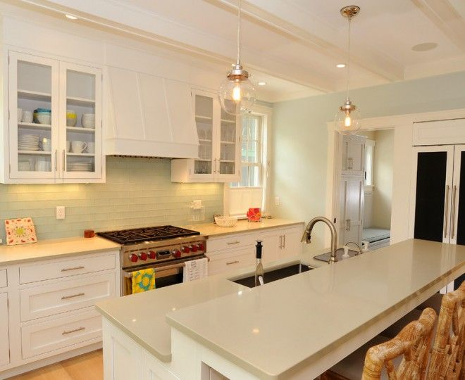 Cool White Shaker Cabinets Method Other Metro Beach Style Kitchen  Decorating Ideas With Bar Beige Countertops Cedar Shake Chalkboard Door  Cottage Hanging ...