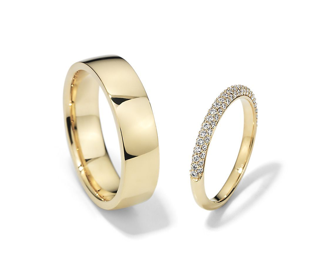 Trio Micropave And Low Dome Comfort Fit Set In 18k Yellow Gold Blue Nile In 2021 Wedding Rings Sets Gold Yellow Gold Wedding Ring Sets Couple Wedding Rings