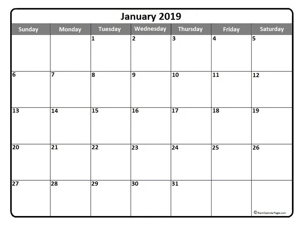 January 2019 Printable Calendar Template January2019 Calendar