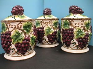 Beau 3 Pcs 3D Grape Canister Set Kitchen Decor Vineyard Wine Home Storage Bar  New | EBay