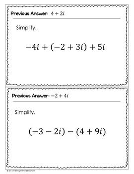 Operations on Complex Numbers Scavenger Hunt Activity | Algebra ...