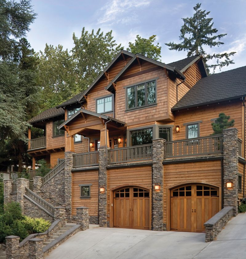 Deck Over Garage Google Search: Rustic Cedar Shingled Craftsman Style Luxury Home