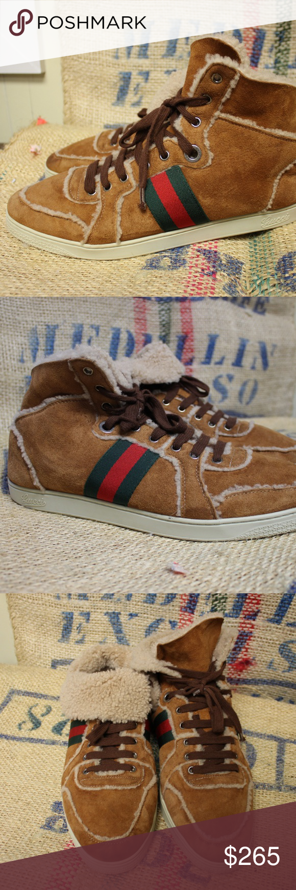 c5ec6ff22b9 RARE Gucci suede   shearling sneakers Great condition!! Slight  discoloration on toe. Can be worn up like a high top or folded down to see  the shearling.