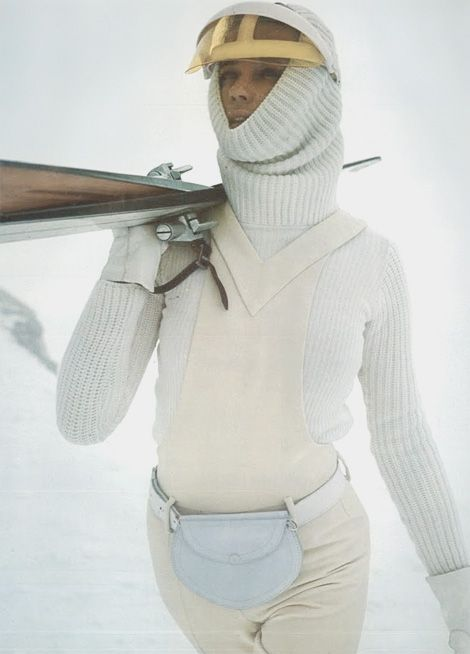 Veruschka von Lehndorff photographed by Franco Rubartelli for Vogue Paris in 1969, wearing a skiing outfit designed by Pierre Cardin.