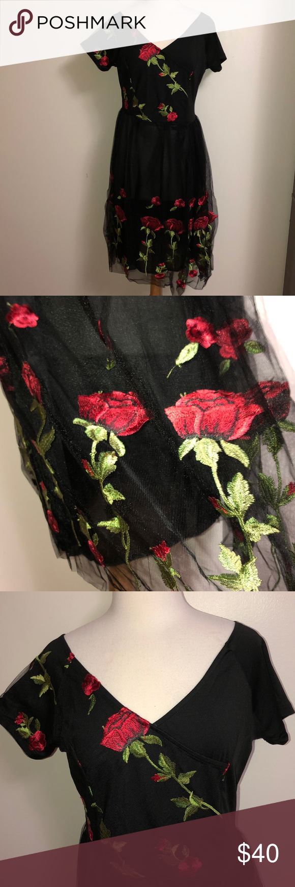 Black Midi Dress With Red Rose Embroidery Black Midi Dress Midi Dress Rose Embroidery [ 1740 x 580 Pixel ]
