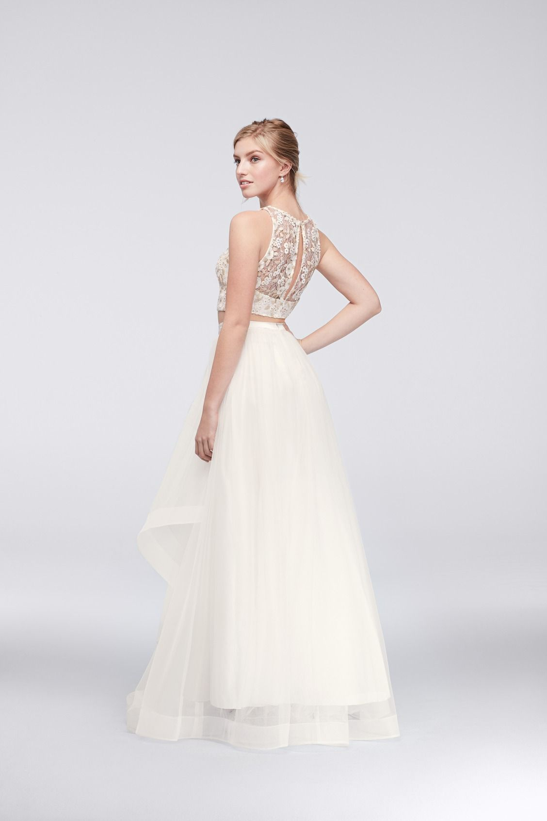 Ivory And Gold Floral Lace And Cascading Mesh Two Piece Prom Dress