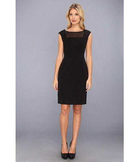 Calvin Klein Sheath Dress w/ Dotted Illusion Top Black/Black ...