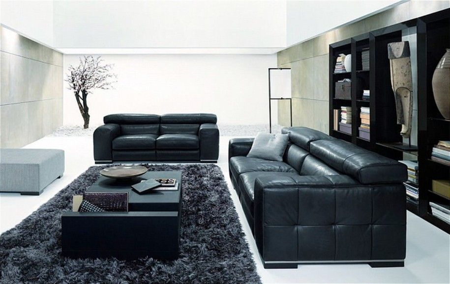 Elegant Black And White Living Rooms : Majestic Natuzzi Lving Room Design  With Dark Bookshelf Balck Pictures Gallery