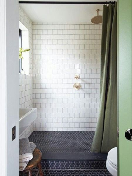 Example Of A Lovely Large Shower With A Curtain Instead Of A Glass