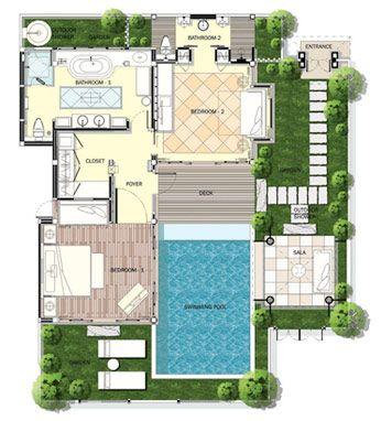 Floor Plan Family Pool Villa Pool House Plans Small Villa Pool Houses