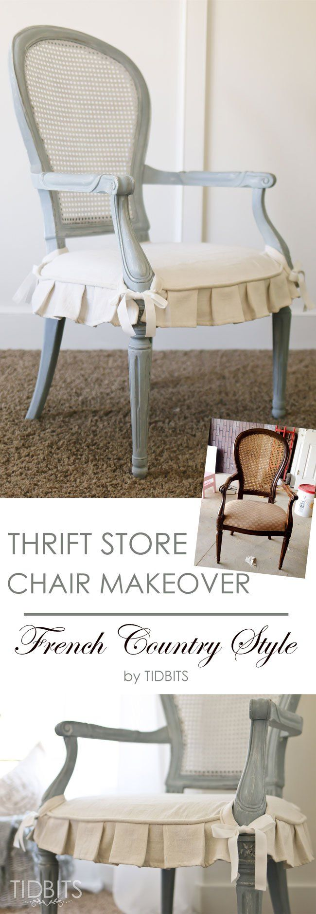 thrift store chair makeover see more ideas about chair makeover and french country style. Black Bedroom Furniture Sets. Home Design Ideas