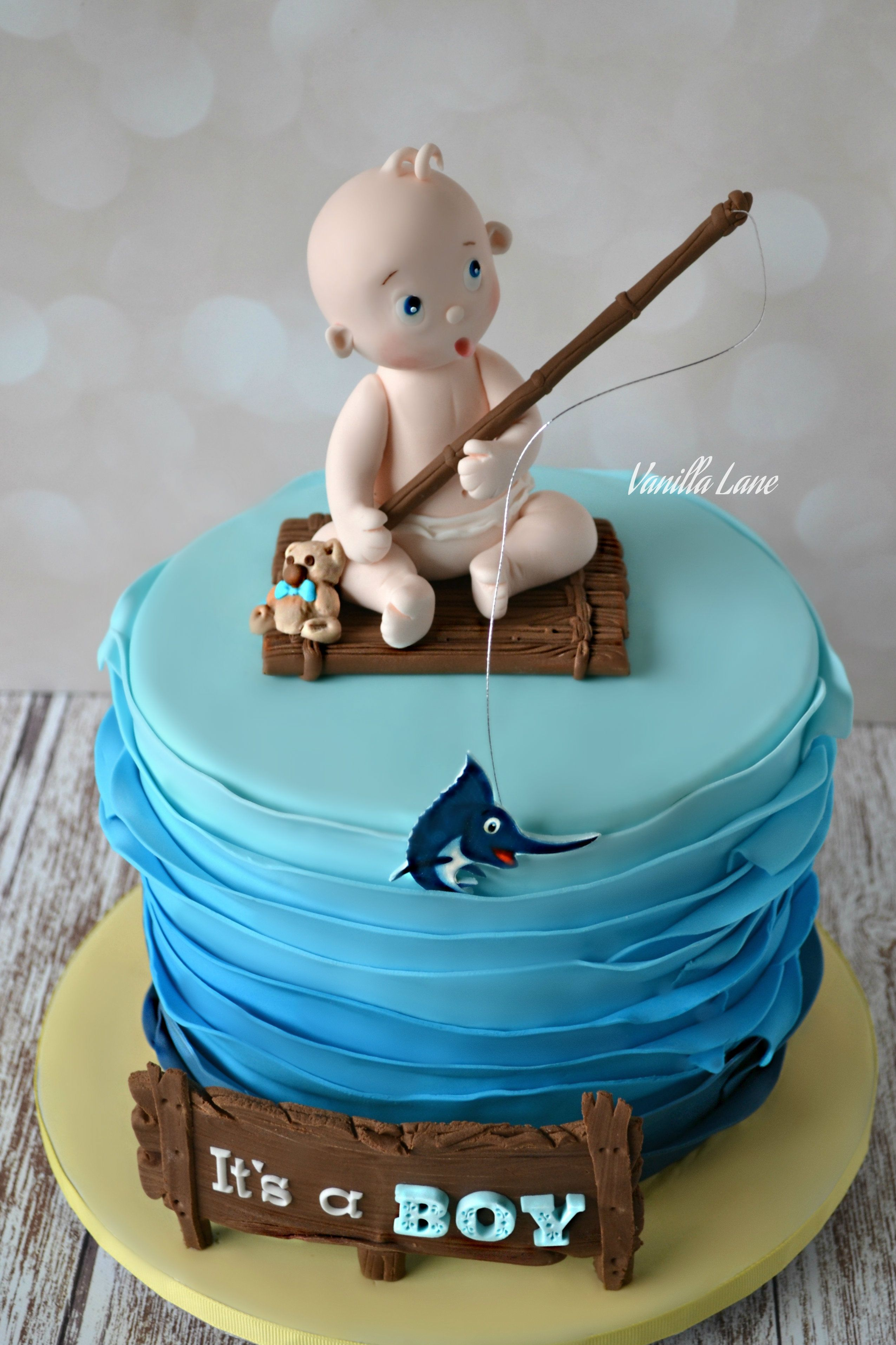 Baby Shower Cake For Boy On The Way Dad Loves Marlin Fishing