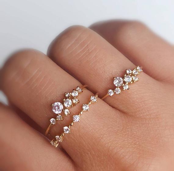 Diamant-Cluster-Ring, 14K Gold Cluster Ring, November Birthstone Ring, stapelbare zierliche R...