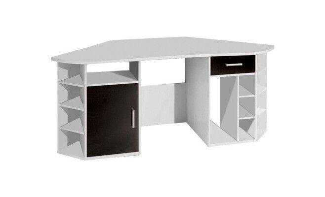 Bureau dangle avec 1 tiroir et 1 porte Office Blanc et noir 181 x