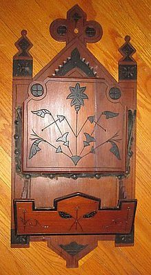 Antique Victorian 1880 S Eastlake Carved Wood Wall . Magazine HoldersWall  ...