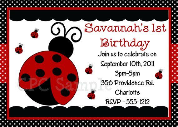 invitacion ladybug theme party Pinterest – Ladybug Party Invitations