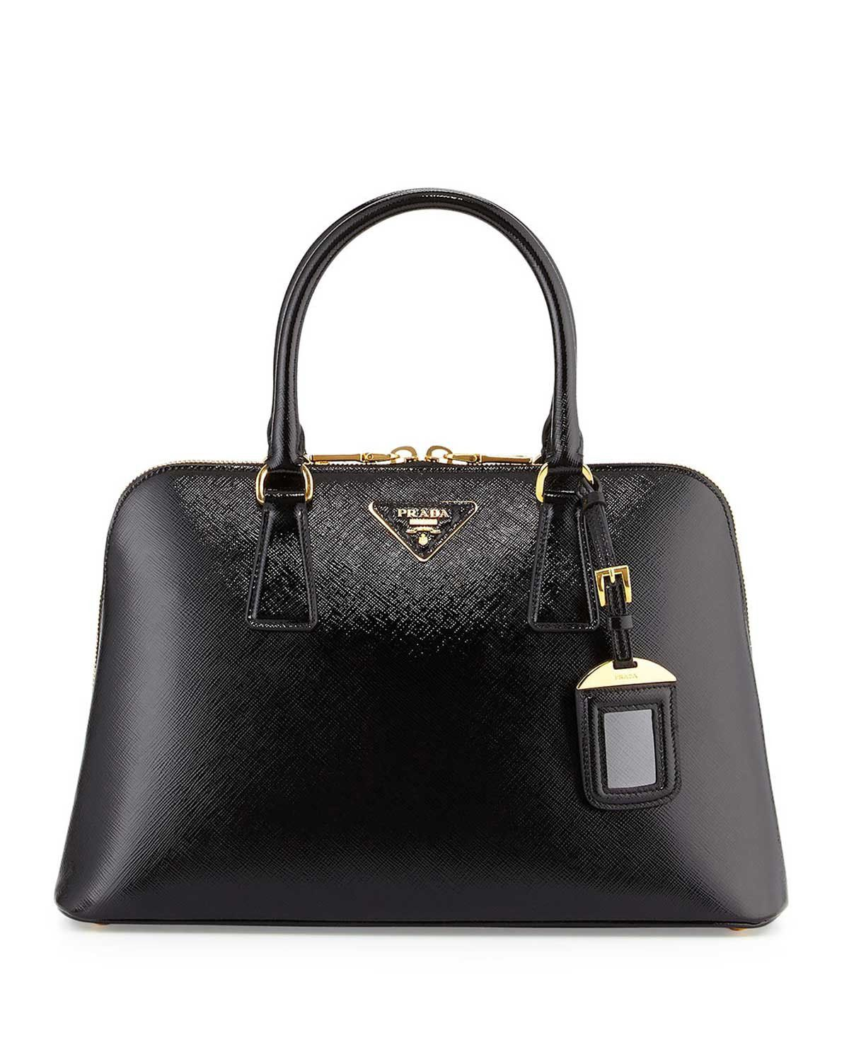 acde7b2b5c6fa8 Prada Saffiano Double-Handle Small Trapezoid Tote Bag Black #bagsandpurses