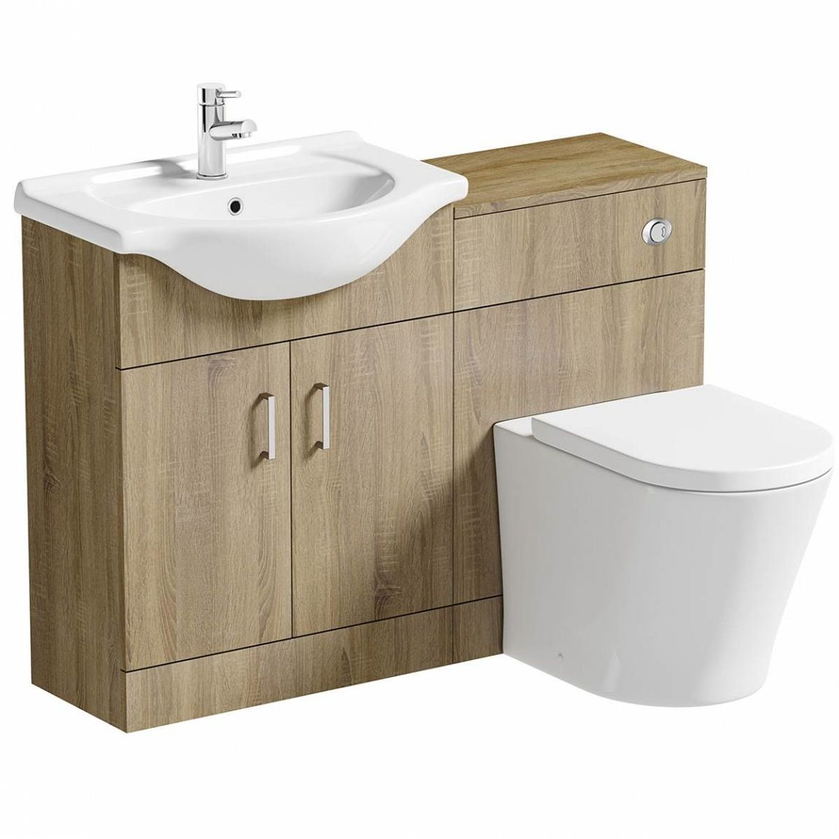 Sienna oak combination unit and arte back to wall toilet - Combination vanity units for bathrooms ...