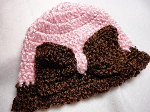 Baby Hat Girl Handmade Crocheted Cloche Ruffle Pink Brown Soft