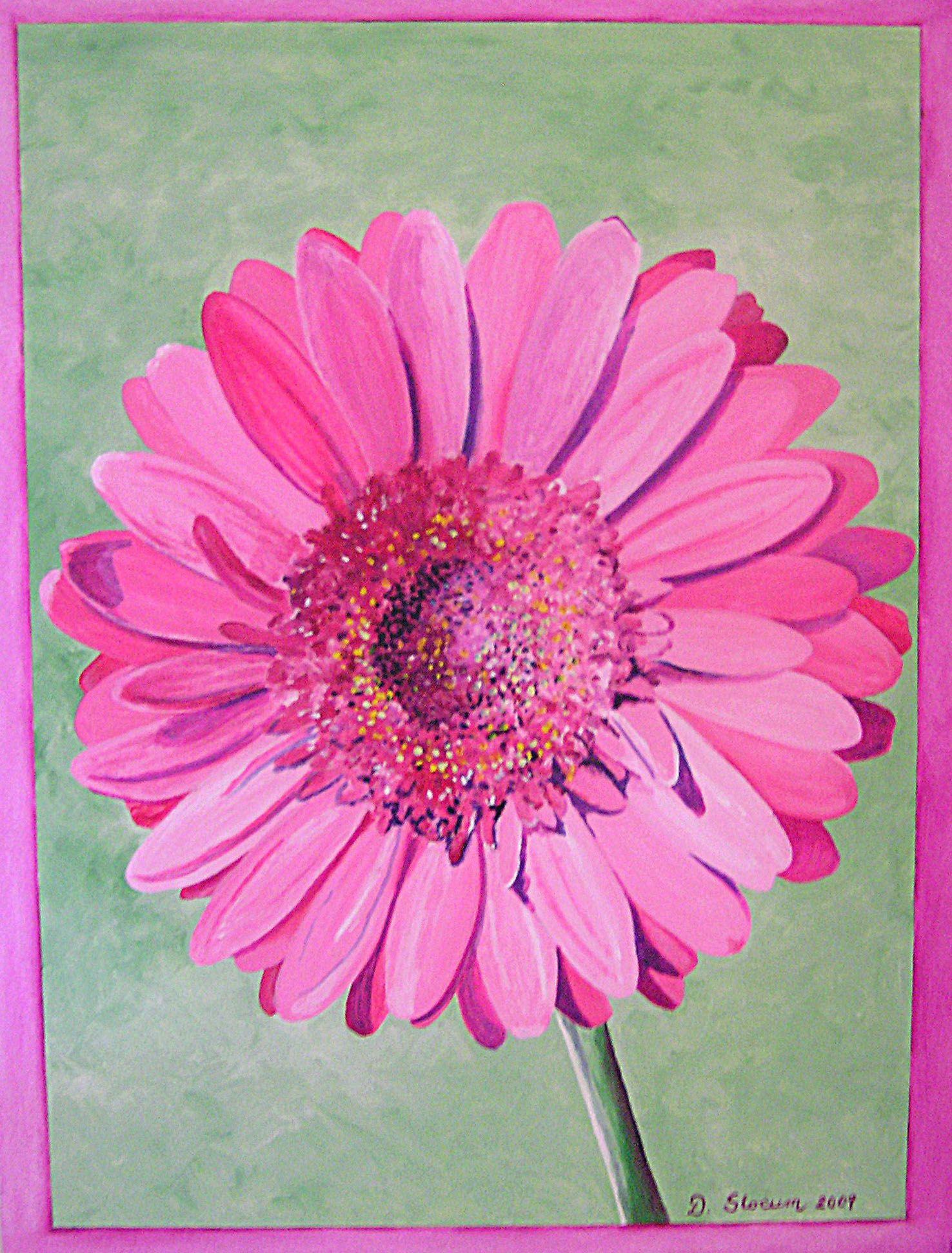 "Original oil painting ""Gerber Daisy"" by Deborah Slocum"