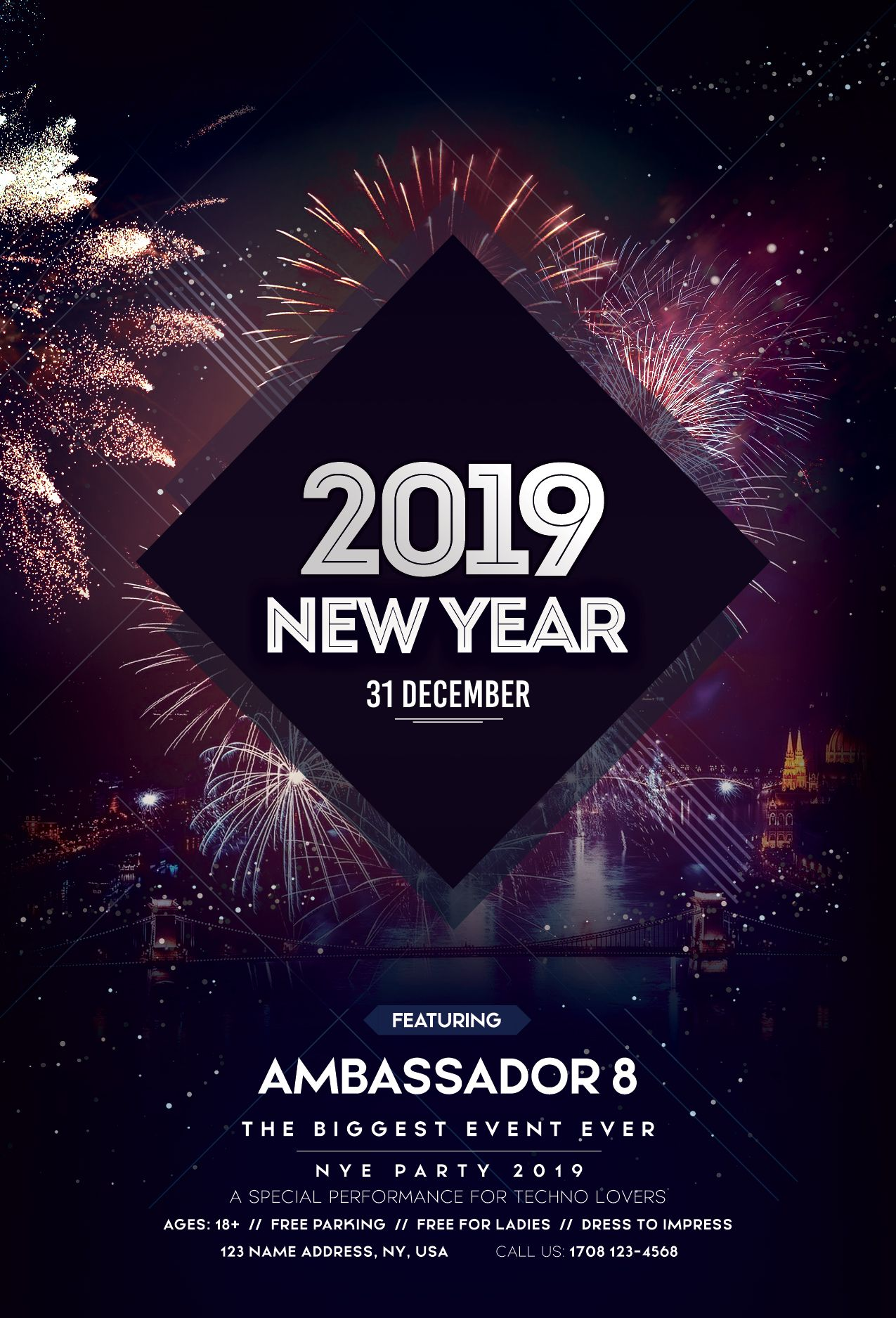 Happy New Year 2019 Free Psd Flyer Template Pixelsdesign New Year S Eve Flyer Free Psd Flyer Templates Happy New Year 2019