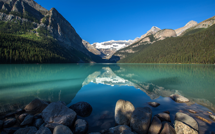 Download wallpapers 4k, Lake Louise, summer, Banff, mountains, Alberta, Banff National Park, Canada