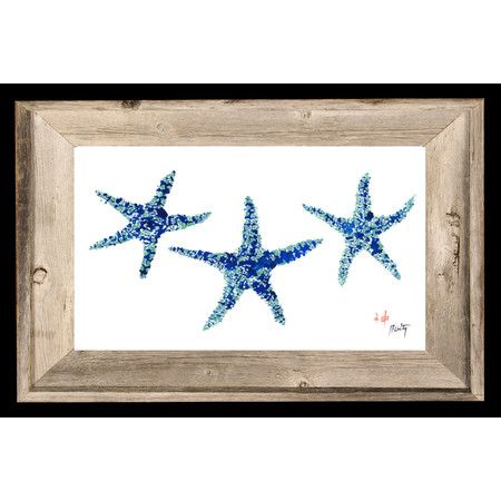 Showcasing A Trio Of Bold Blue Starfish This Artful Print Brings Coastal Appeal To Your Entryway Or Home Librar Painting Frames Starfish Print Painting Prints